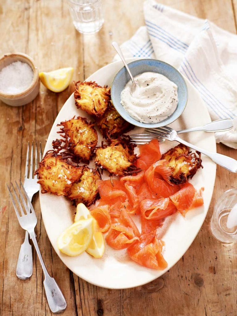 Potato latkes with smoked salmon and horseradish crème fraîche