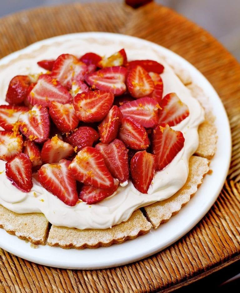 Strawberry and orange shortbread