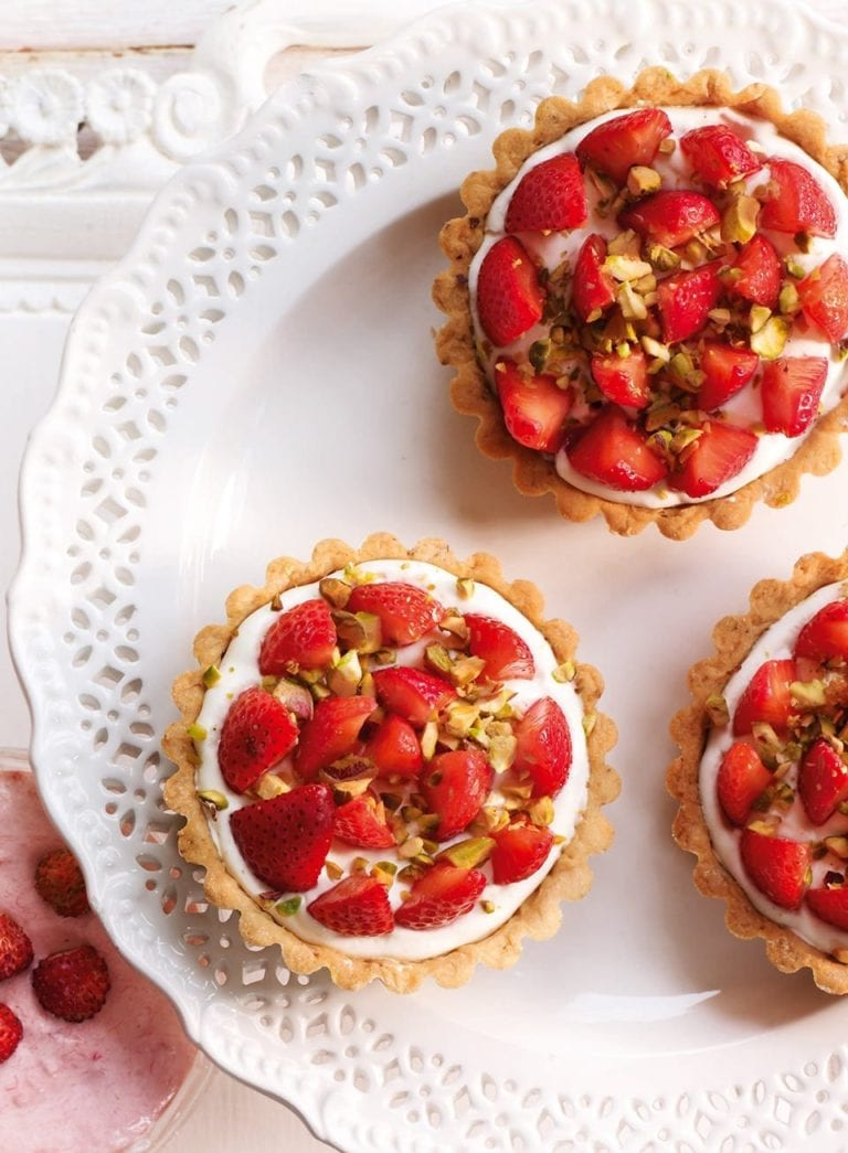 Strawberry and pistachio tarts