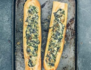 Spinach and lemon baguette