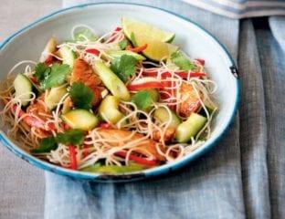 Warm chilli chicken Vietnamese noodle salad