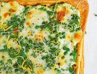 Pea, mozzarella and lemon tart