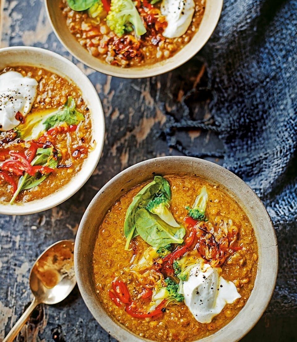 Spiced Vegetable Soup With Lentils And Roasted Chilli