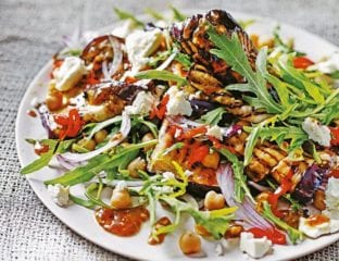 Roast aubergine salad with chickpeas and tamarind