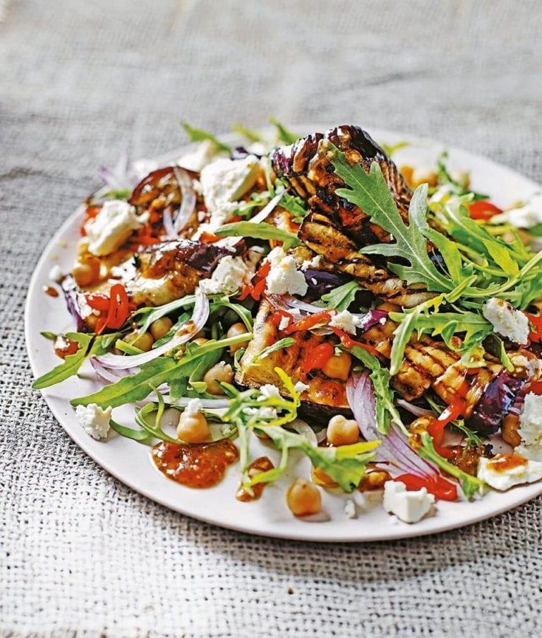 Roast aubergine salad with chickpeas and tamarind