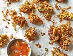 Carrot, onion and spinach bhajis