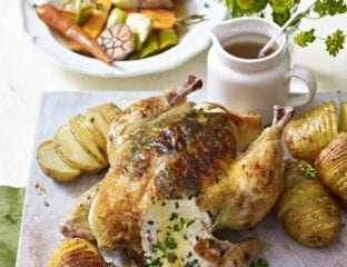 Roast chicken with spring vegetables