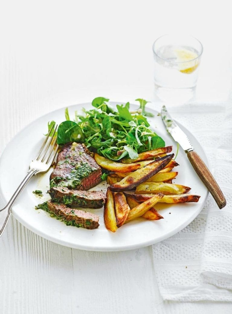 Steak frites with herb butter