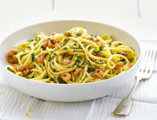 Brown shrimp pasta with garlic and chives