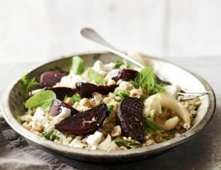Roast beetroot, barley and fennel salad