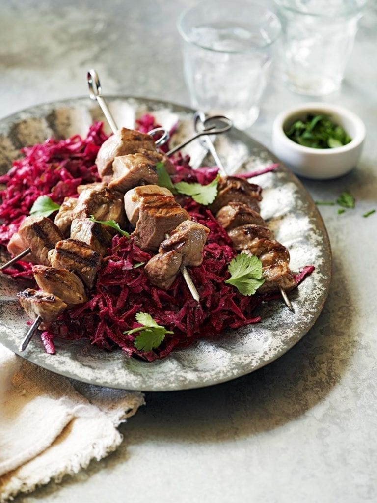 Lamb skewers with spiced beetroot slaw