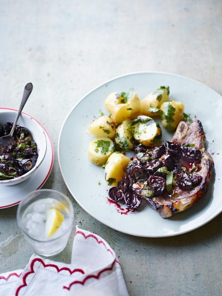 Buttermilk veal chop with cherry sauce and potatoes