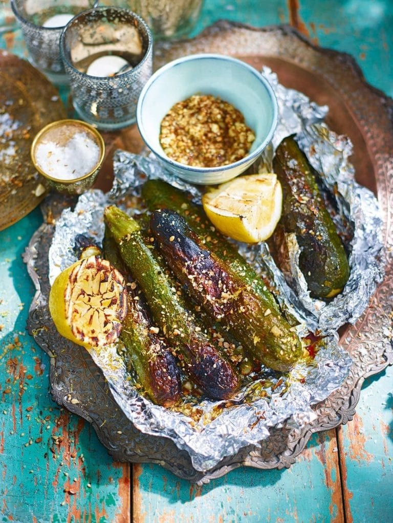 Barbecue courgettes with lemon and dukkah