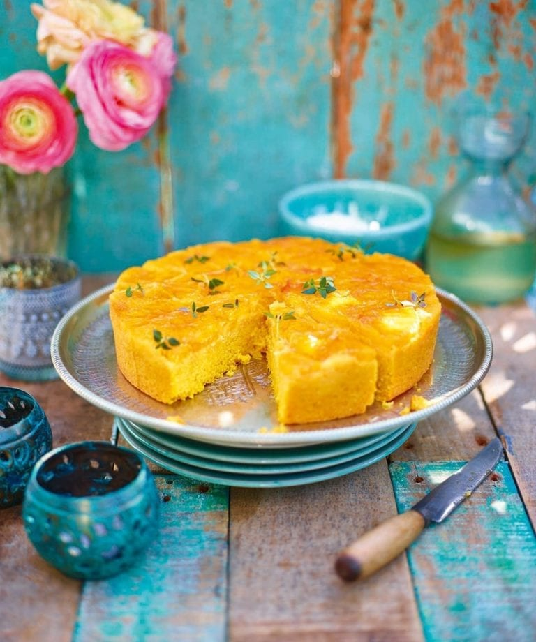 Orange, polenta and olive oil cake with mascarpone and thyme