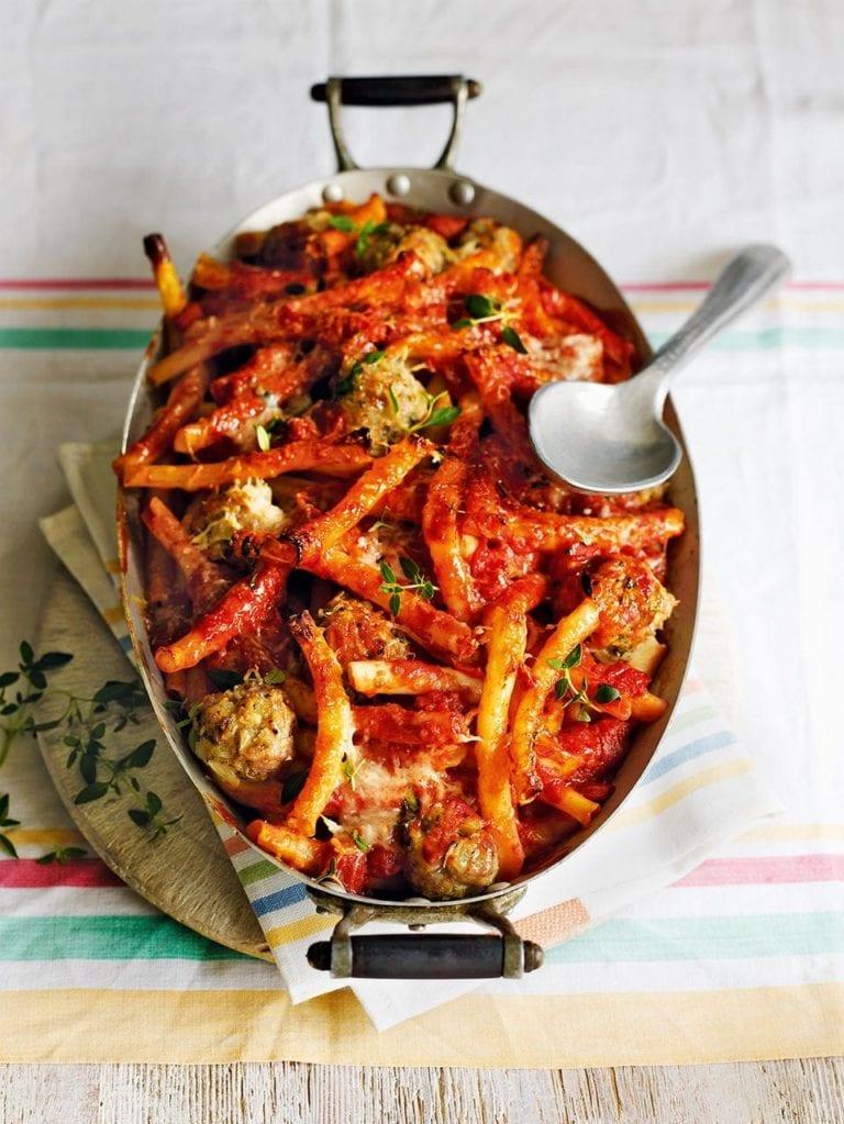 Sausage meatball pasta bake