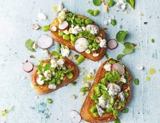 Broad bean and goat's cheese bruschetta