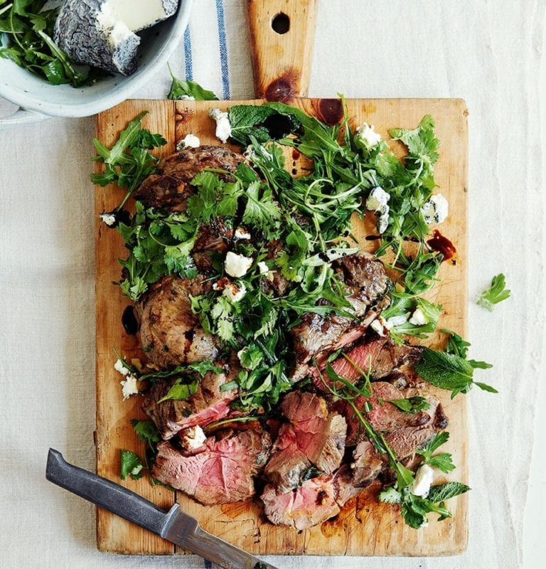 Grilled leg of lamb with goat's cheese and herb salad
