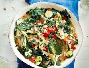 Summer vegetable stew with parsley pesto