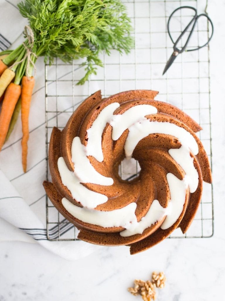 Carrot bundt cake with honey and cream cheese icing