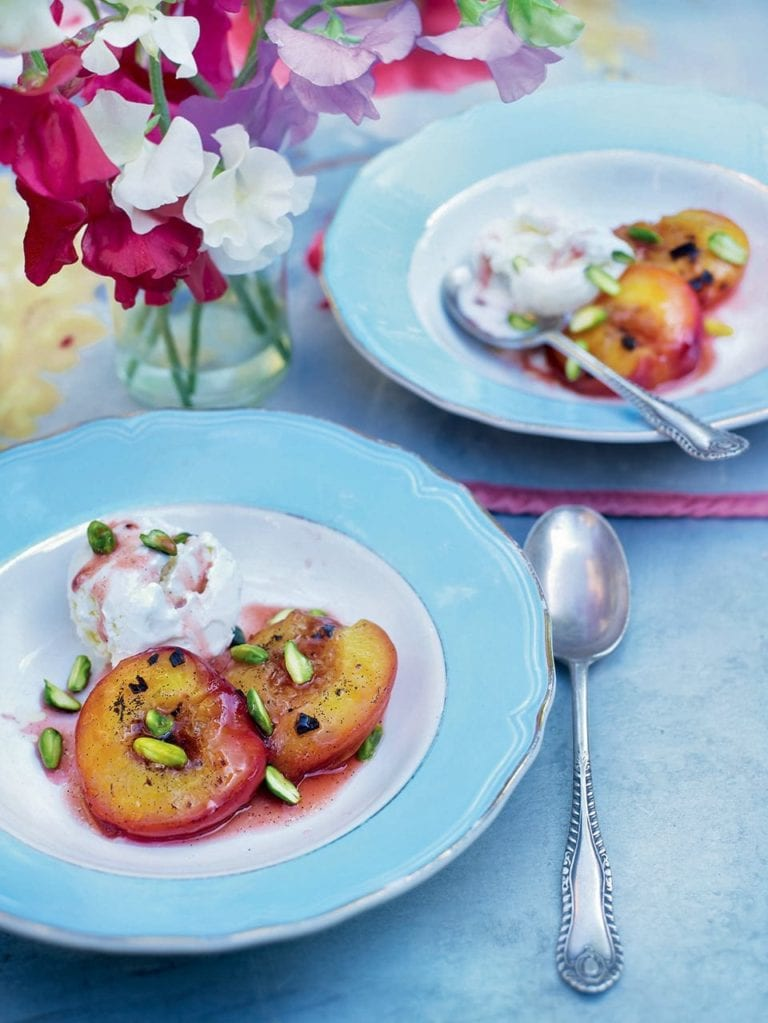 Ember-roast peaches with vanilla, butter and honey