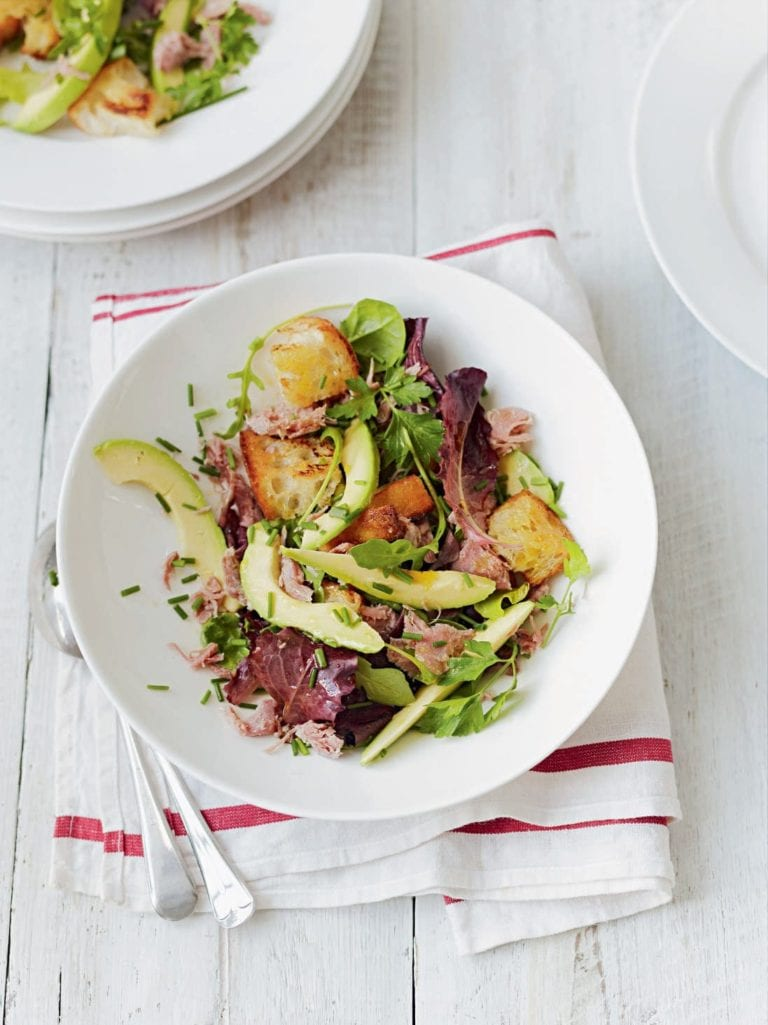 Ham hock, avocado and herb salad