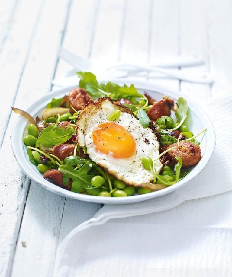 Edamame and chorizo salad with fried egg