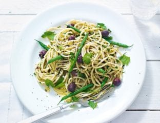 Green bean and olive tapenade pasta