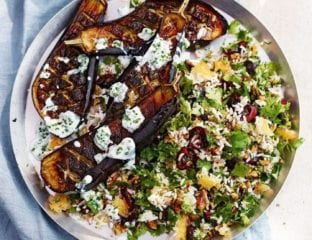 Roasted aubergines with buttermilk dressing and jewelled Persian rice