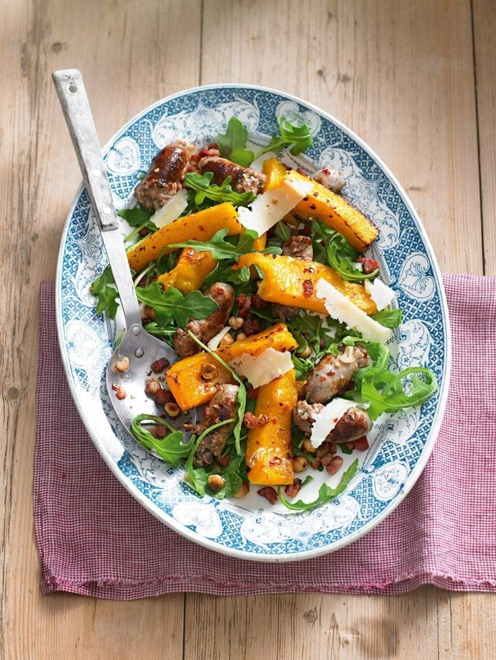 Roast sausage and spiced squash salad