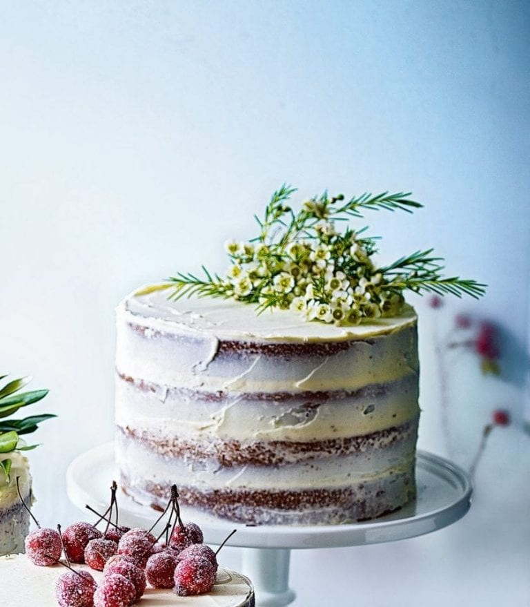 Citrus and rosemary cake with clementine buttercream