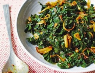 Fenugreek and garlic infused spinach curry