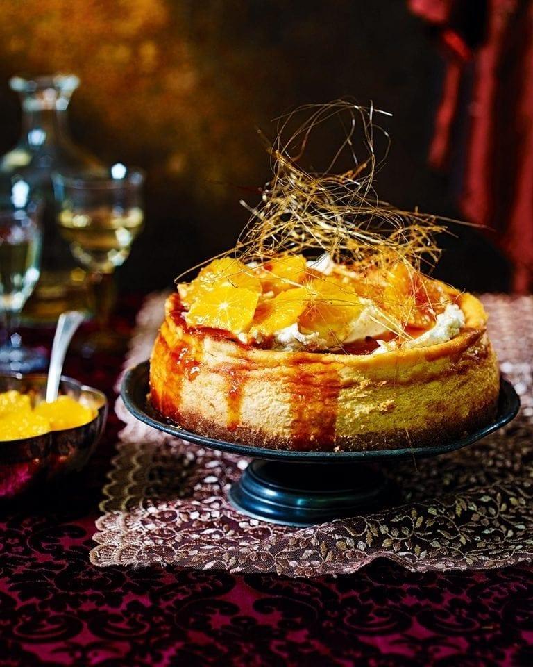 Caramelised orange cheesecake with spun sugar crown