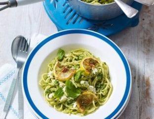 Spaghetti with watercress and feta pesto