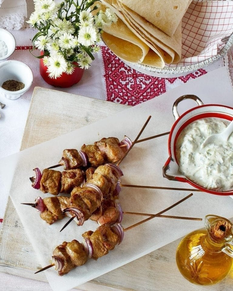 Lamb souvlaki skewers with tzatziki