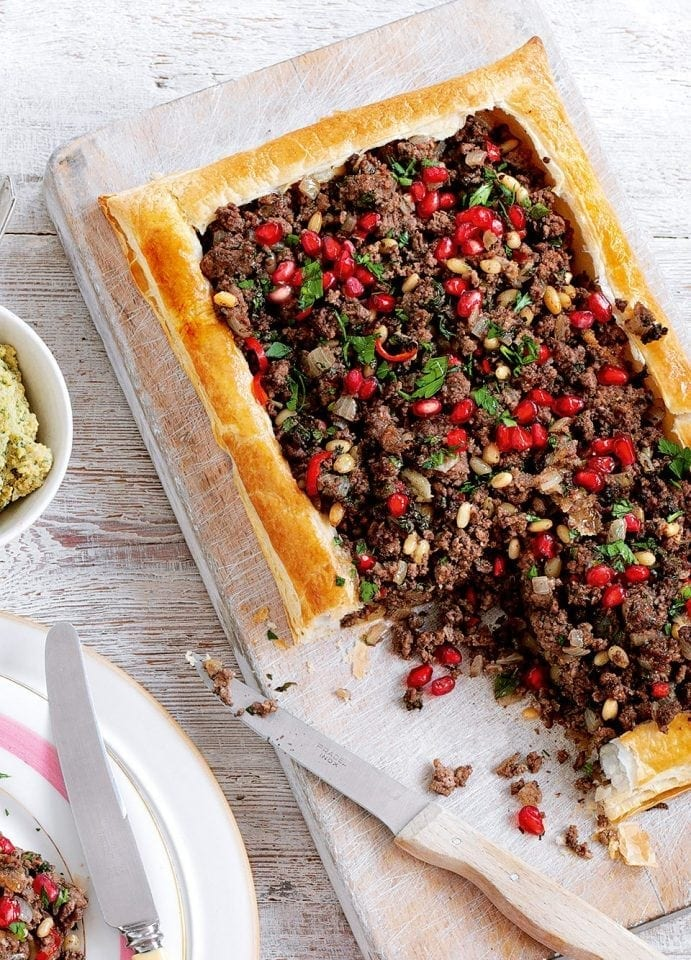 Spicy Lebanese lamb tart