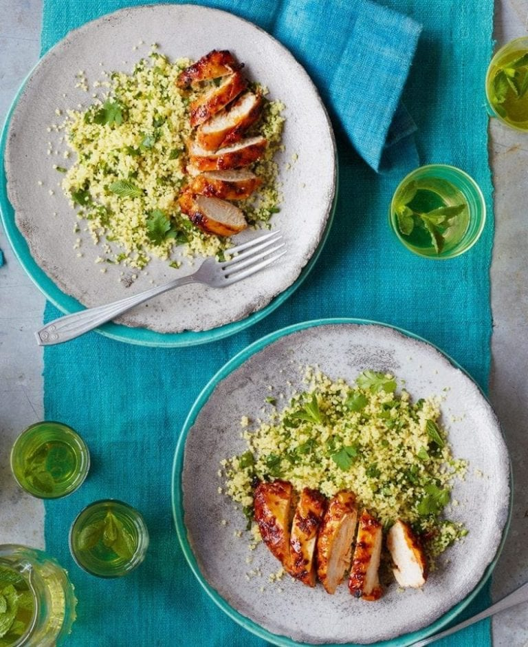 Harissa chicken with green couscous