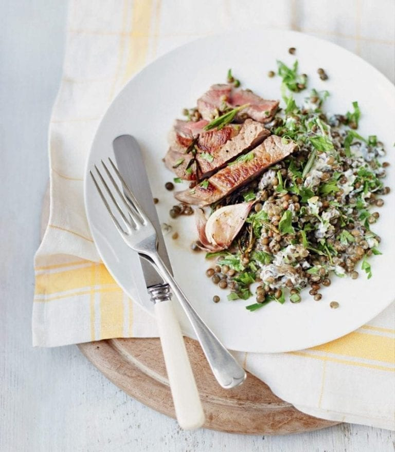 Rosemary lamb with creamy puy lentils