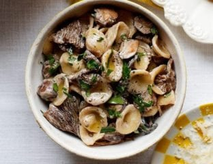 Orecchiette with morels, madeira and mascarpone