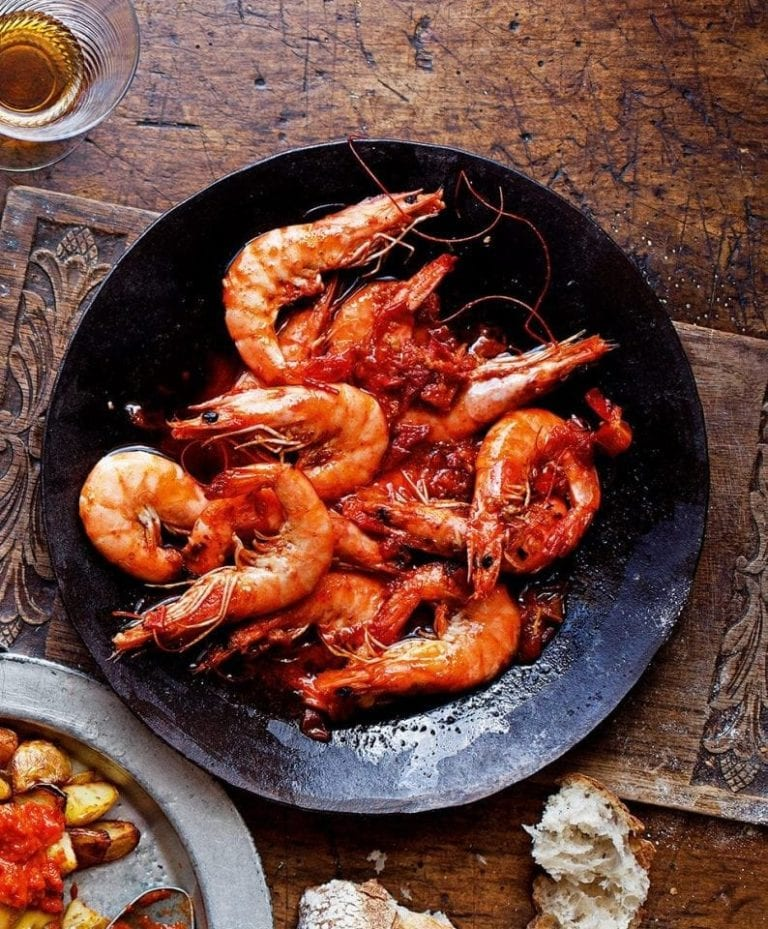 King prawns with garlic and chilli (gambas al ajillo)
