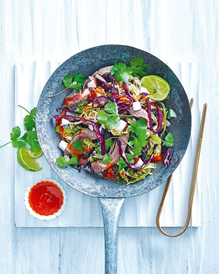 Quick beef stir-fry with cabbage and coconut