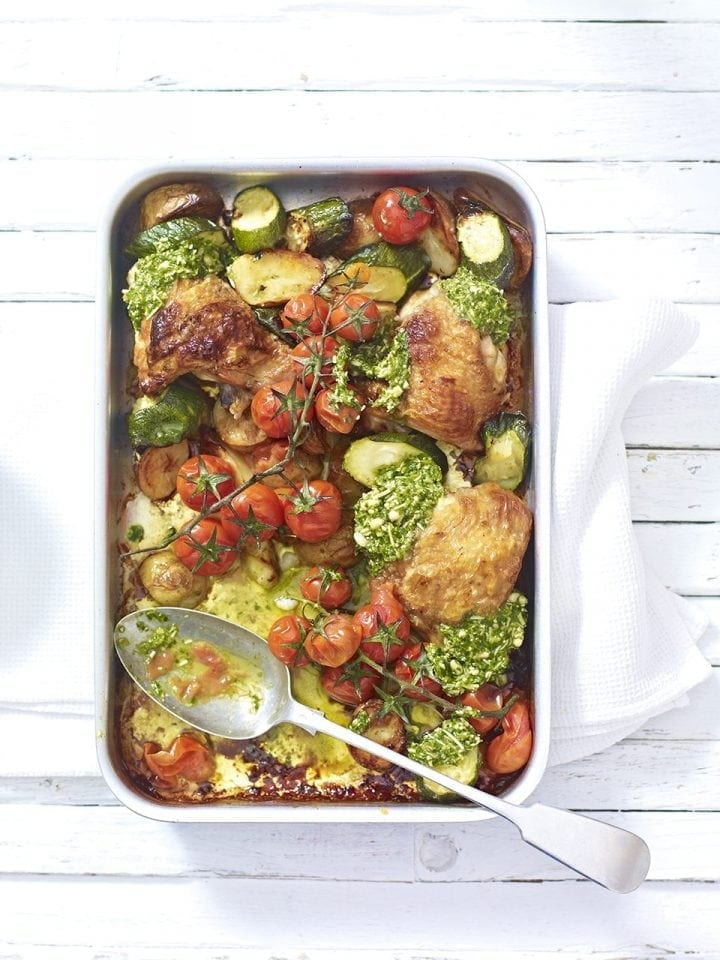 Summer chicken tray bake