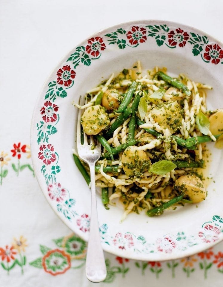 Trofie pasta with green beans and new potatoes