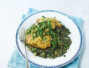 Parmesan roast chicken thighs with lentils
