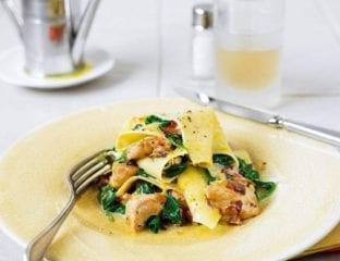 Creamy chicken, sorrel and pancetta open lasagne