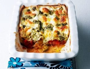 Three-cheese ratatouille lasagne