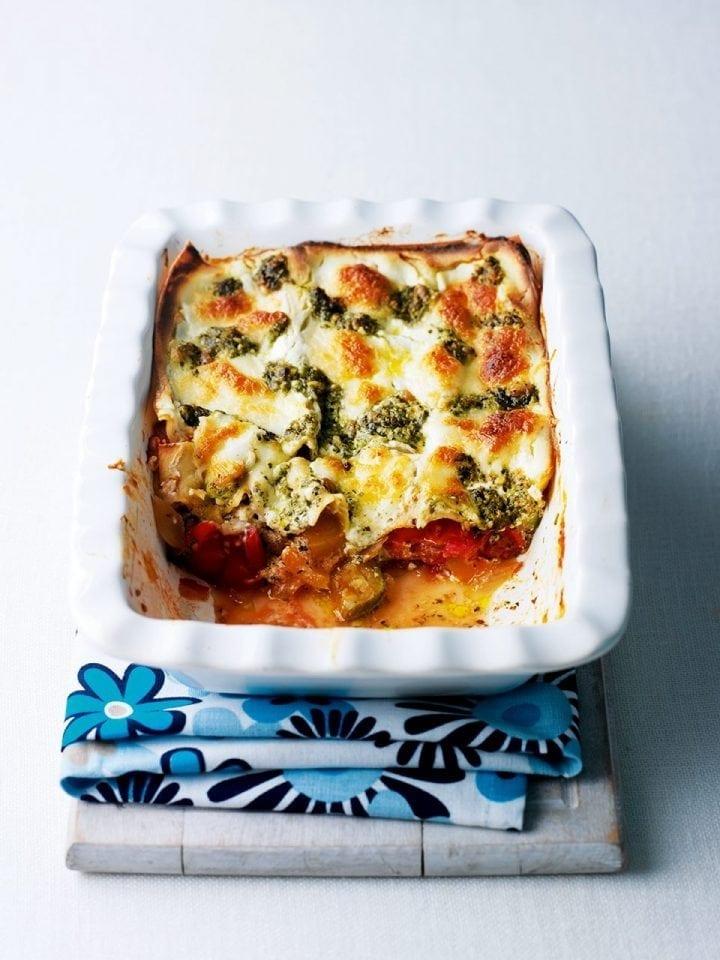 Three-cheese ratatouille lasagne
