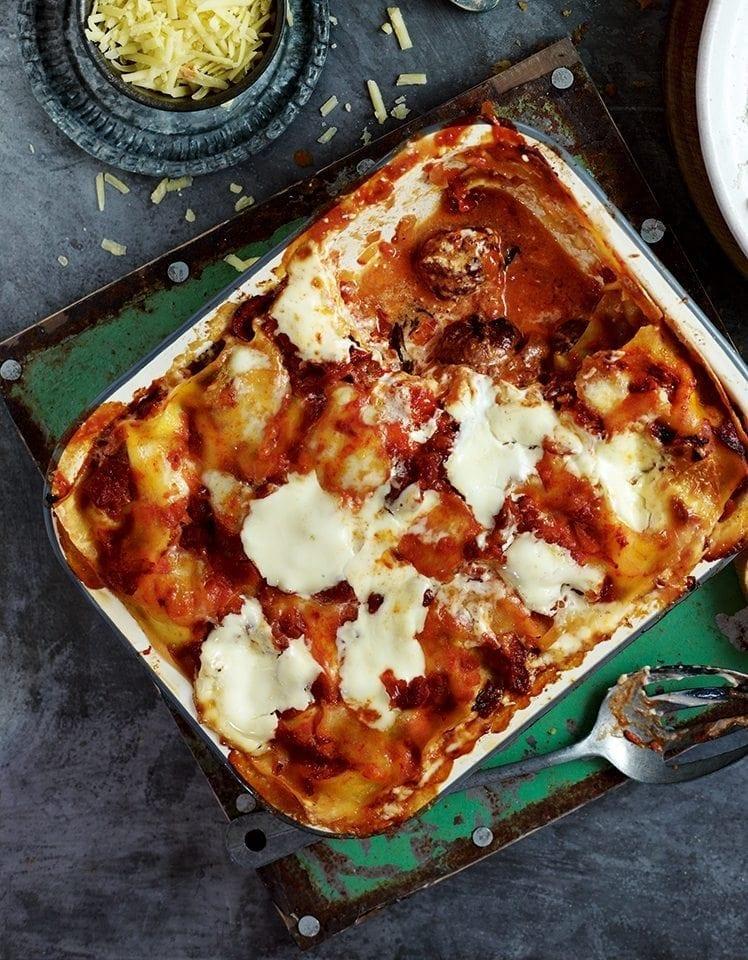 Salami and meatball lasagne