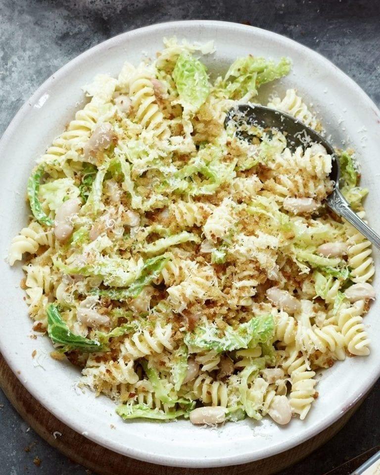Savoy Cabbage Macadamia And White Bean Fusilli Recipe Delicious Magazine