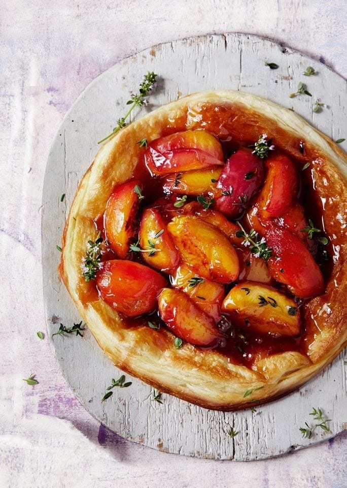 Quick peach tatin