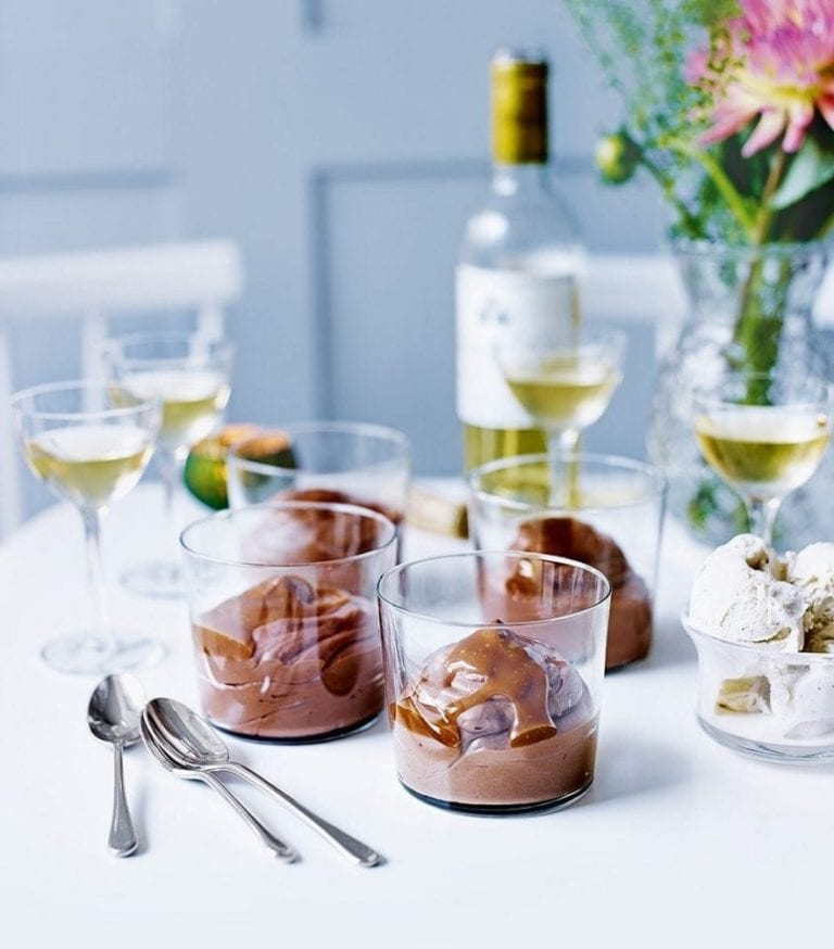 Chocolate truffle pots with caramel sauce